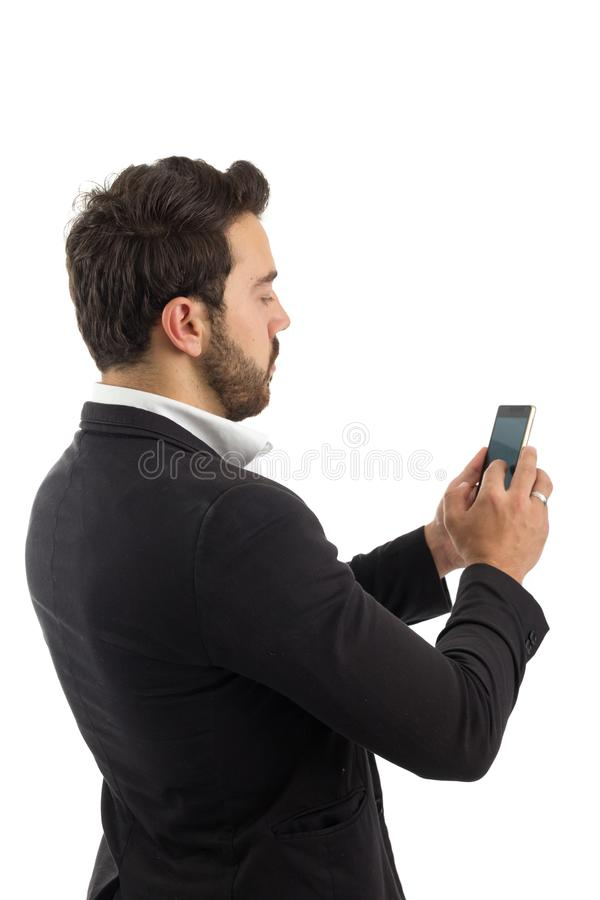 Bearded person wears black jacket and white shirt. Isolated. Man stock images