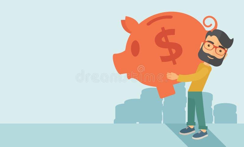 Man with his big piggy bank stock illustration
