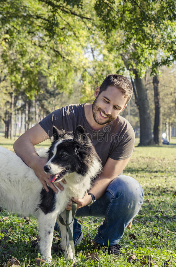 Man and his dog stock photography