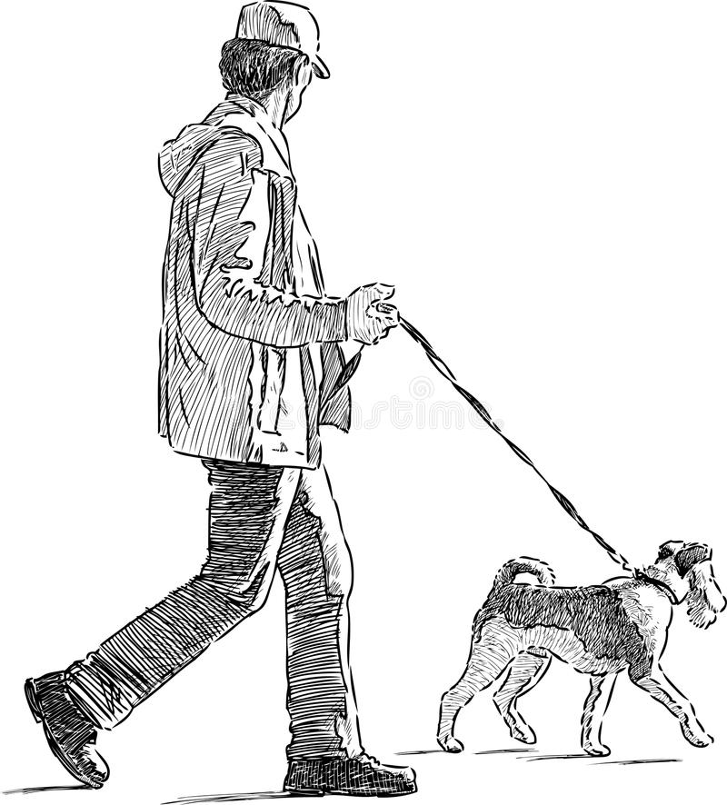 The Line Art Walk London : Man with the his dog stock vector illustration of drawn