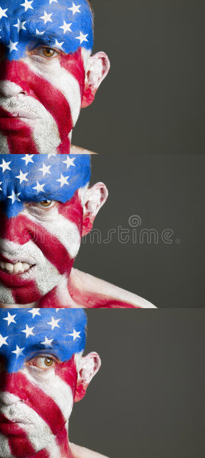 Download Man With His Face Painted With The Flag Of USA Stock Photo - Image of patriot, fear: 25866826