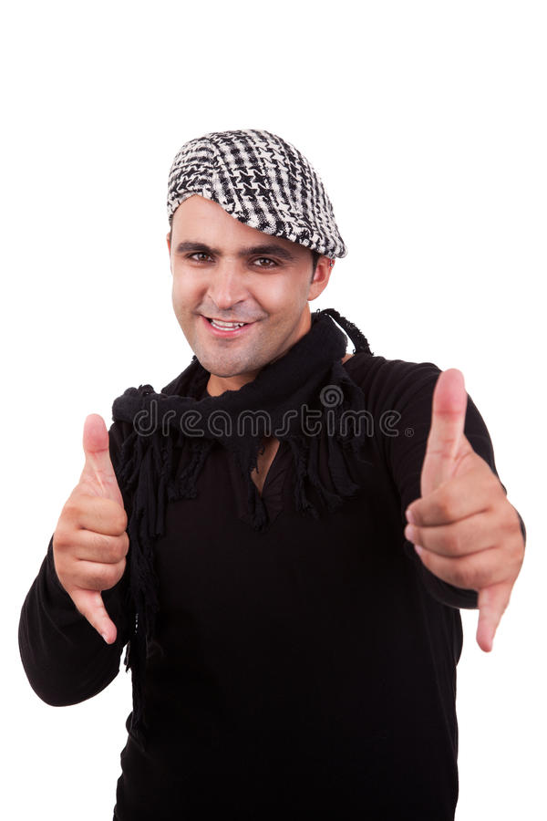 Man with his hands rise up as a sign of everything stock image