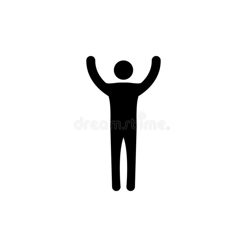 Man with his hands up. concept of victory. vector symbol. EPS10, icon, happy, human, illustration, white, people, pictogram, sign, person, happiness, male royalty free stock photos