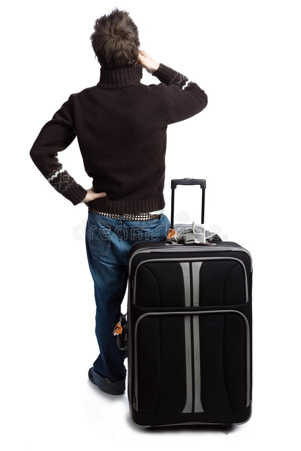 Man with his luggage stock image