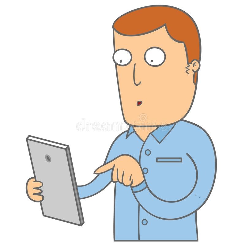 Man with his phone stock illustration