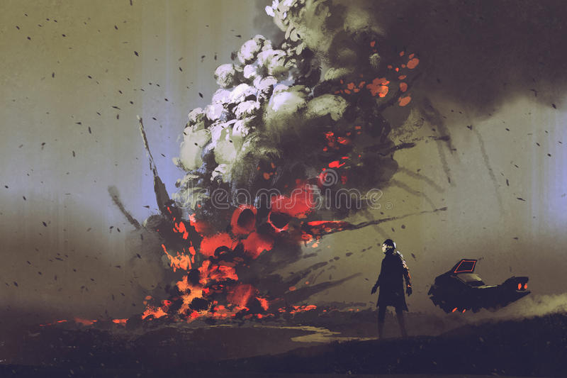 the man with his vehicle looking at bomb explosion on the ground stock illustration