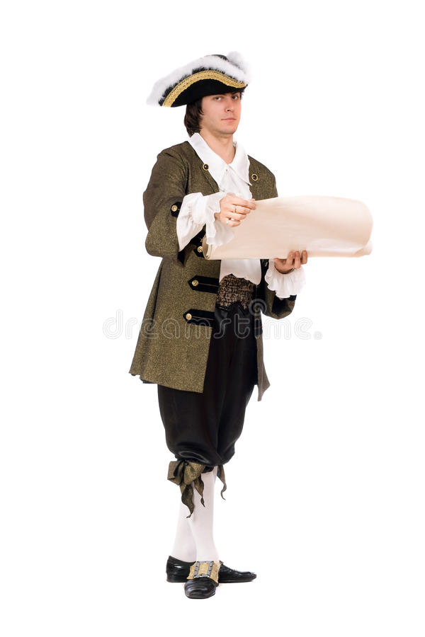 Man in a historical costume royalty free stock photography