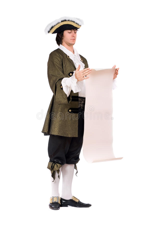 Man in a historical costume read the decree