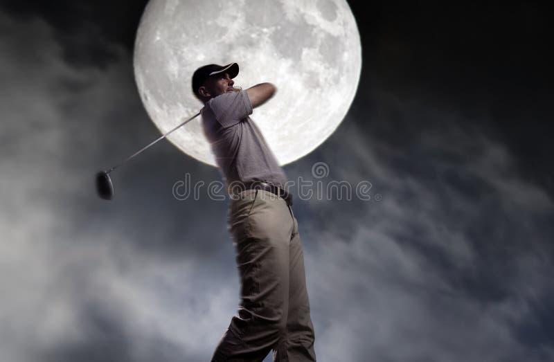 Man hit it hard at night royalty free stock photography