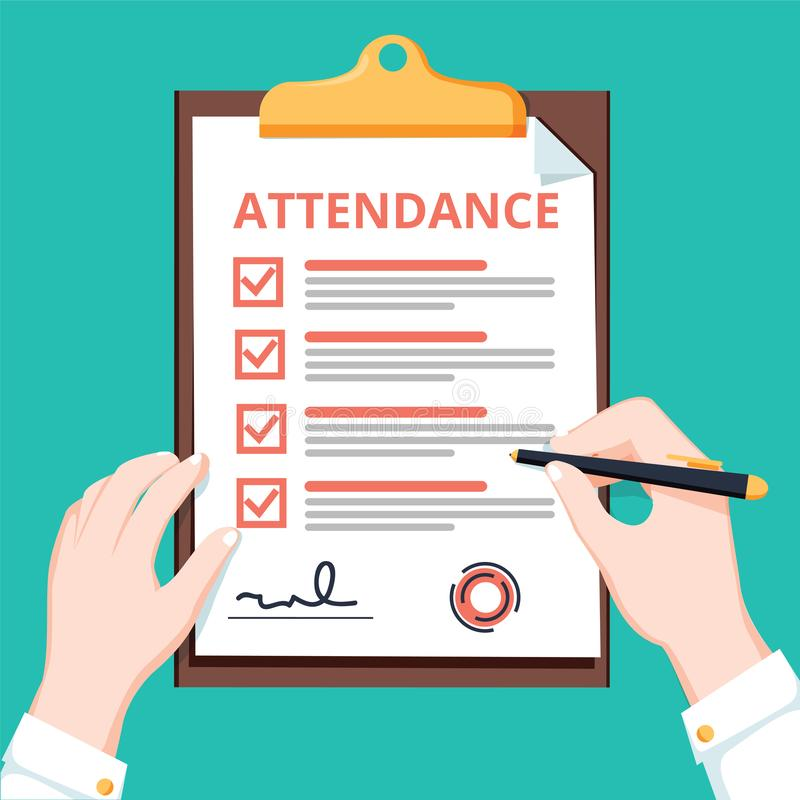 Free Man Hold Attendance Clipboard With Checklist. Questionnaire, Survey, Clipboard, Task List. Flat Design, Illustration Royalty Free Stock Images - 129833739