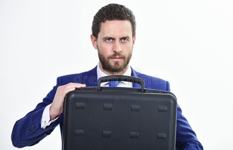 Man hold briefcase. Business profit. Commercial offer. Businessman demonstrate briefcase. Business conference. Business stock photos