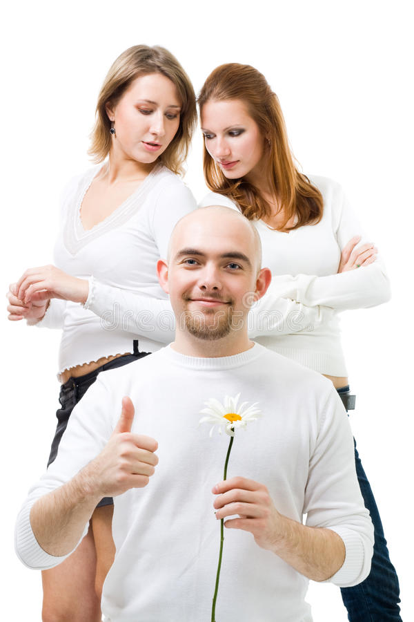 Man Hold Camomline With Two Women Stock Photography