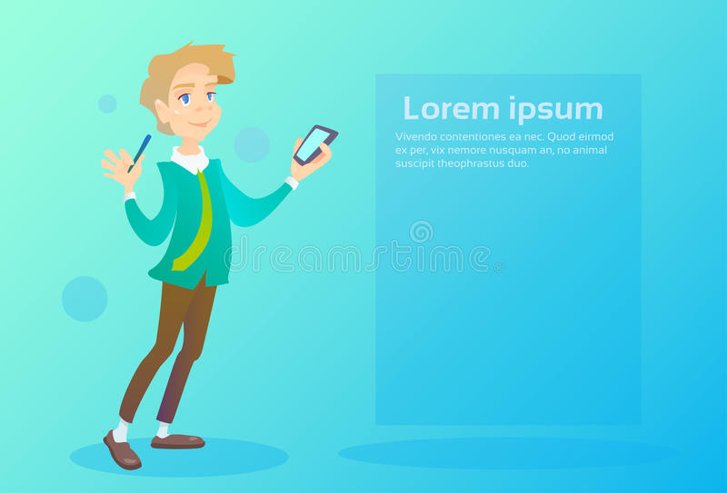 Man Hold Cell Smart Phone Chatting Texting, Social Network Communication stock illustration