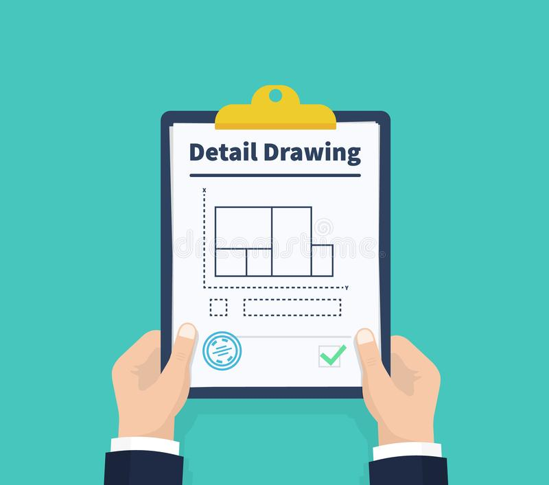 Man hold detail drawing, The architectural drawing of a facade and a section on a white background. Holding the royalty free illustration