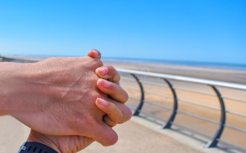 A man hold hand of his girl royalty free stock photos