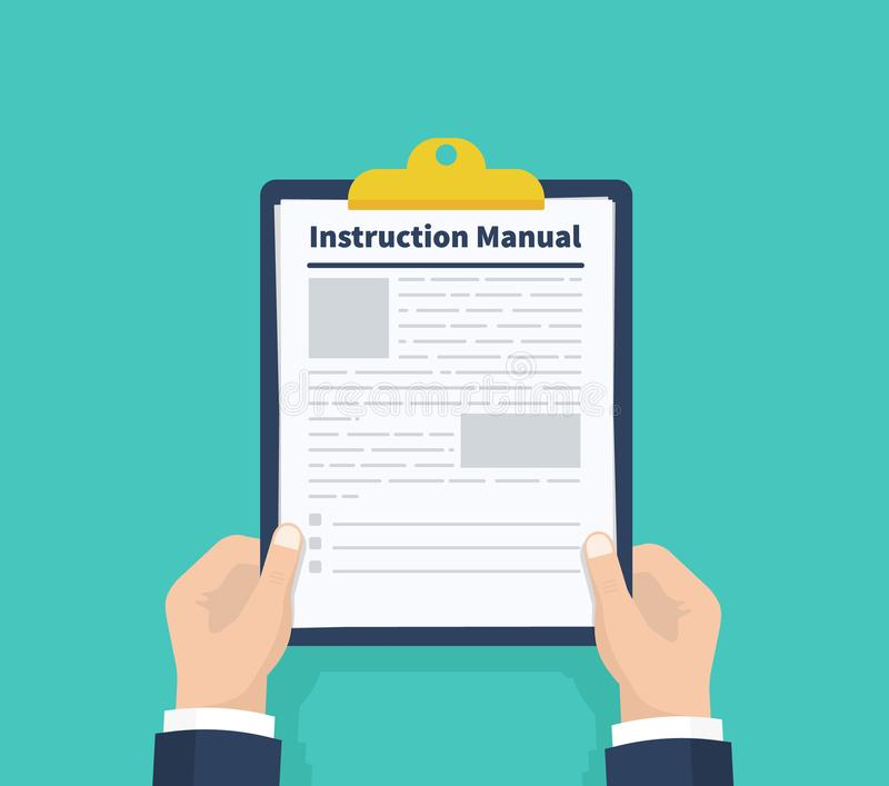 Man hold instruction manual. Checklist Holding the clipboard. Paperwork, sheets in folder. Vector illustration. vector illustration
