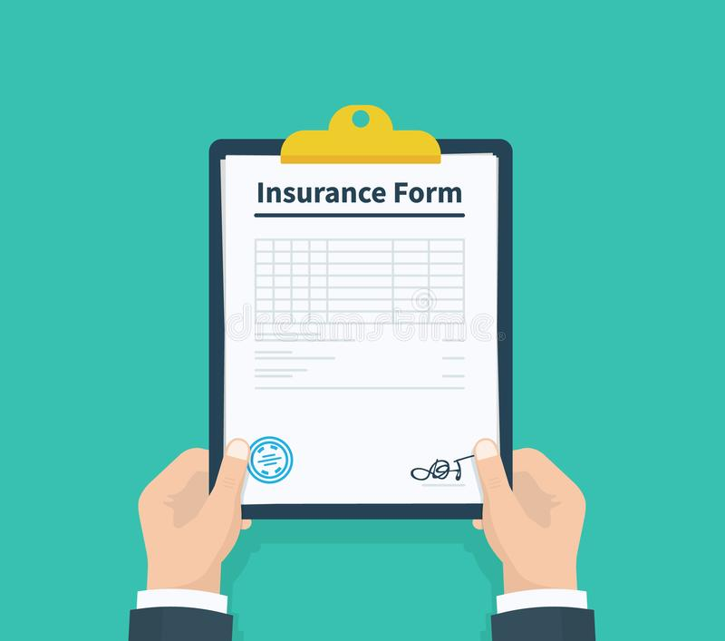 Man hold Insurance form clipboard with checklist. Questionnaire, survey, clipboard, task list. Flat design, vector royalty free illustration