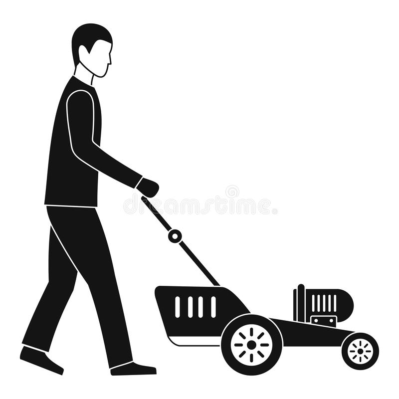 Man hold lawn mower icon, simple style. Man hold lawn mower icon. Simple illustration of man hold lawn mower icon for web design isolated on white background stock illustration