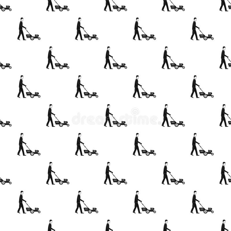 Man hold lawn mower pattern seamless vector stock illustration