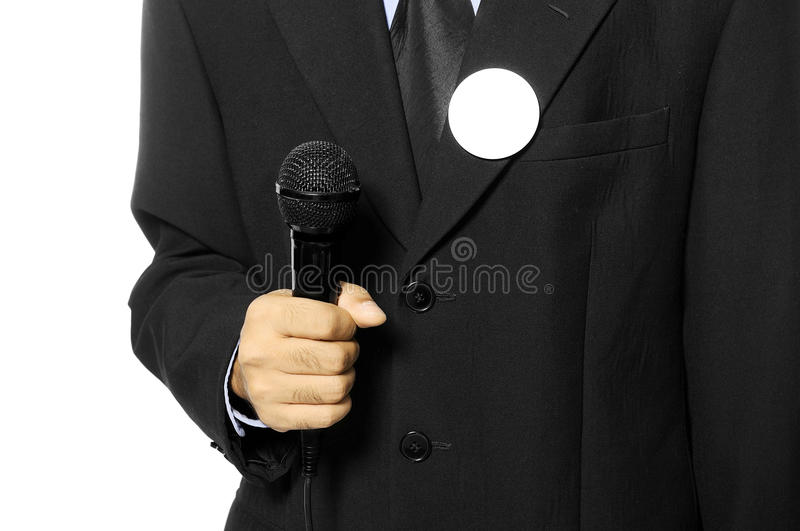 Download Man Hold Microphone For Election Day Concept Stock Photo - Image of isolated, necktie: 27061824