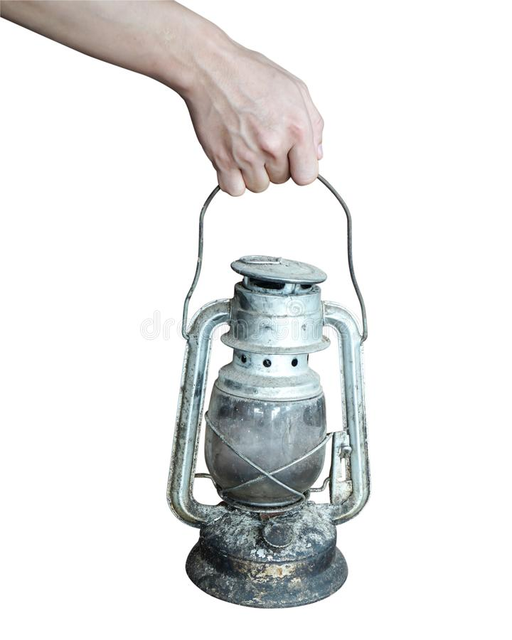 A man hold paraffin lamp royalty free stock photography