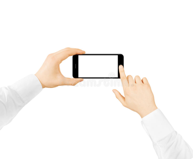 Man hold phone blank screen mockup two hands, press button stock image