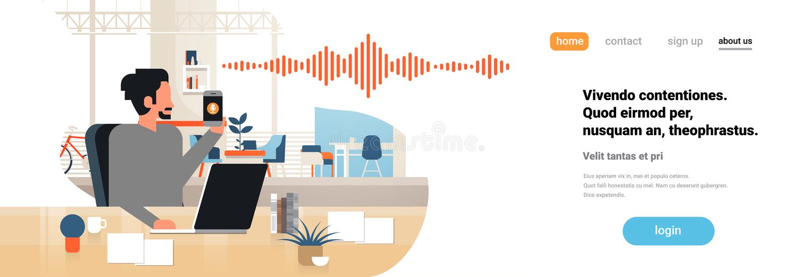 Man hold phone intelligent voice personal assistant recognition sound waves technology concept office interior. Background artificial intelligence horizontal stock illustration