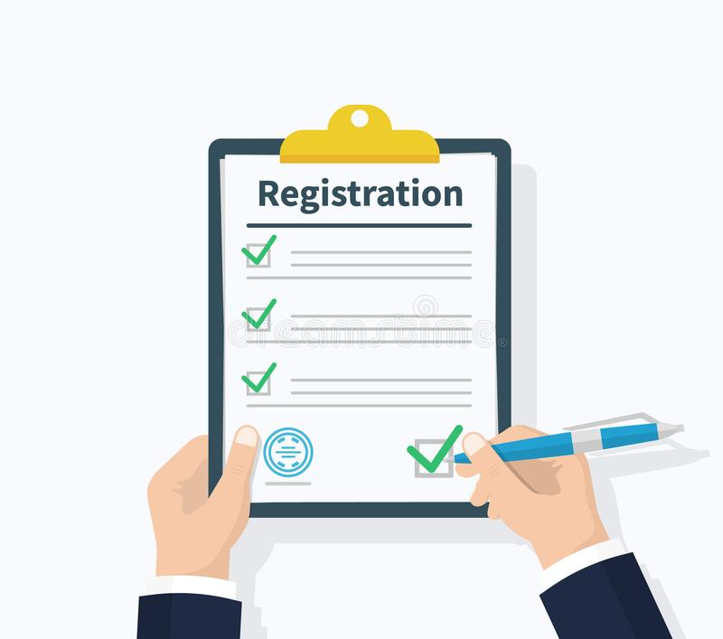 Man hold Registration clipboard with checklist. Man hold in hand clipboard agreement. Flat design, vector illustration. On background royalty free illustration