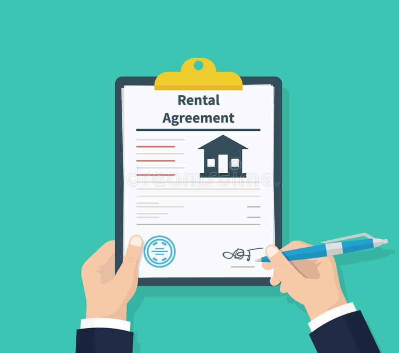 Man hold Rental agreement form contract. Clipboard in hand. Signing document. Flat design, vector illustration on. Background royalty free illustration