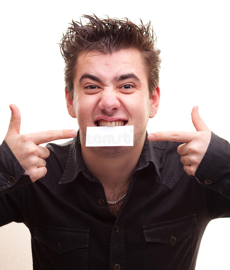 Free Man Holding A Card Royalty Free Stock Image - 12227436