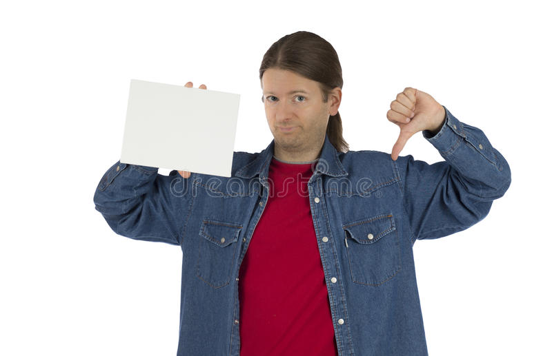 Man holding an advertisement poster and showing thumb down stock images