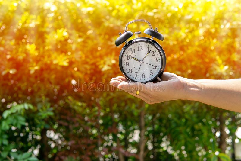 The man holding alarm clock in sunlight and park background show concept of giving time or dividing time for something - dividing royalty free stock photos