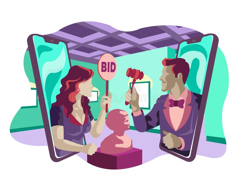 Man Holding Antique Auction and Woman Places Bid Online Museum Flat Illustration Style Concept vector illustration