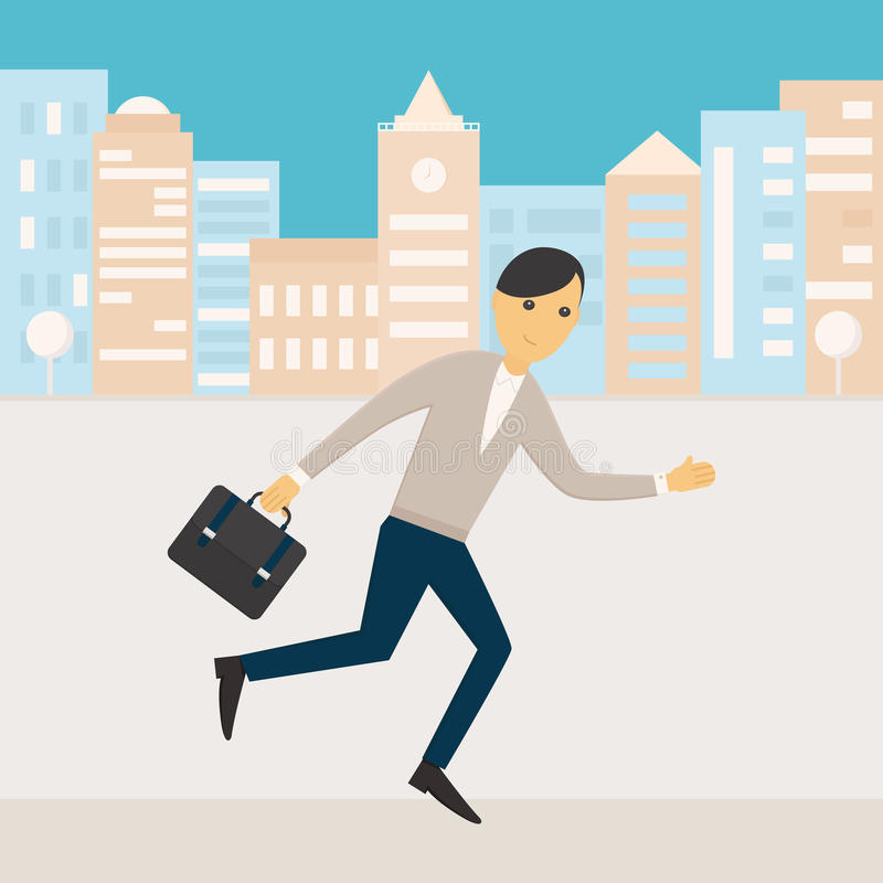 Man Holding a Bag Running along Office Buildings. Illustration of a man running with his office bag along a street of office buildings. Office worker or royalty free illustration