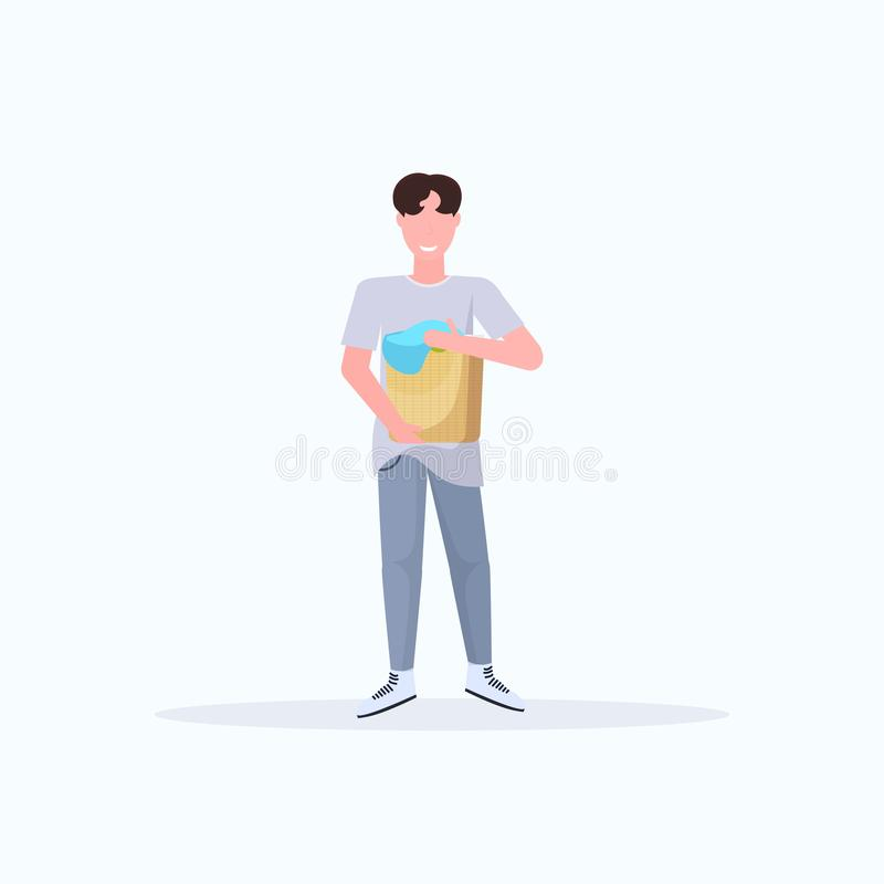 Man holding basket with dirty clothes guy doing housework concept male cartoon character full length flat white. Background vector illustration royalty free illustration