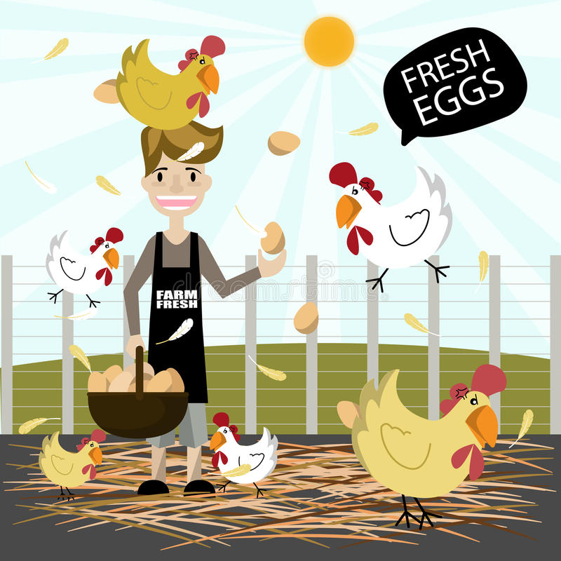 Man holding basket eggs on a sunny day.Eggs chicken farm. royalty free stock image
