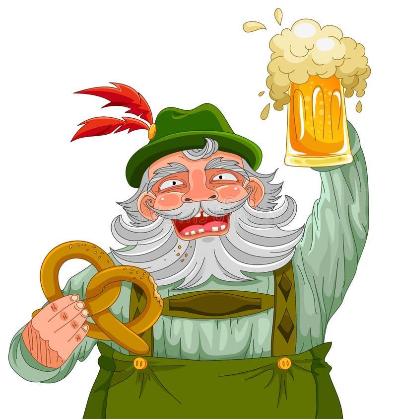 Download Man Holding Beer And Pretzel Stock Vector - Image: 32617047