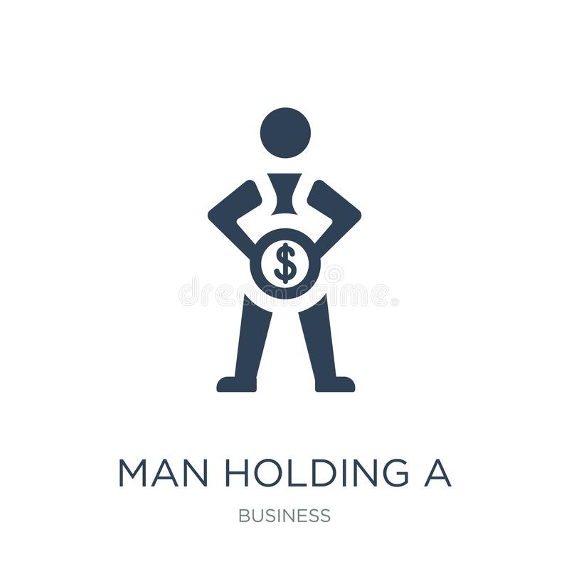 man holding a big coin icon in trendy design style. man holding a big coin icon isolated on white background. man holding a big royalty free illustration