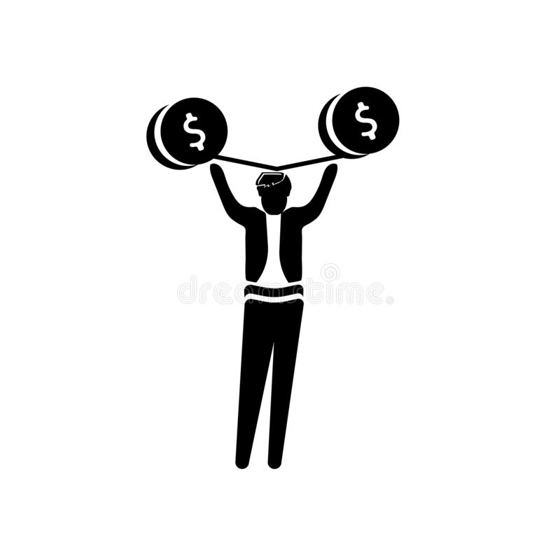 Man Holding a Big Coin icon vector isolated on white background, Man Holding a Big Coin sign , business illustrations vector illustration