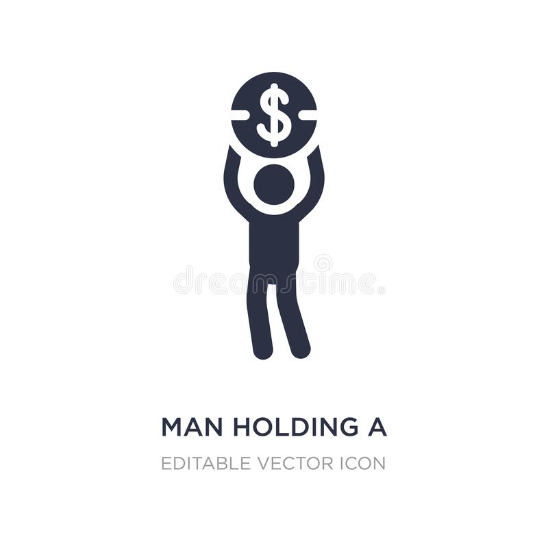 man holding a big coin icon on white background. Simple element illustration from Business concept stock illustration