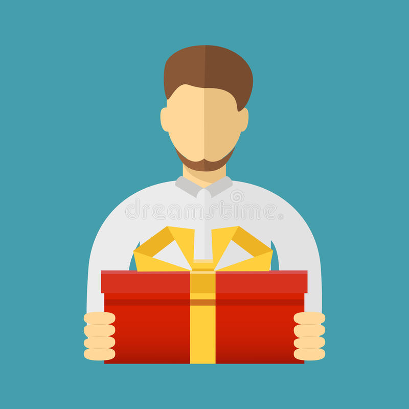 Man holding big ribbon bow wrapped gift box in his arms. Flat st royalty free illustration