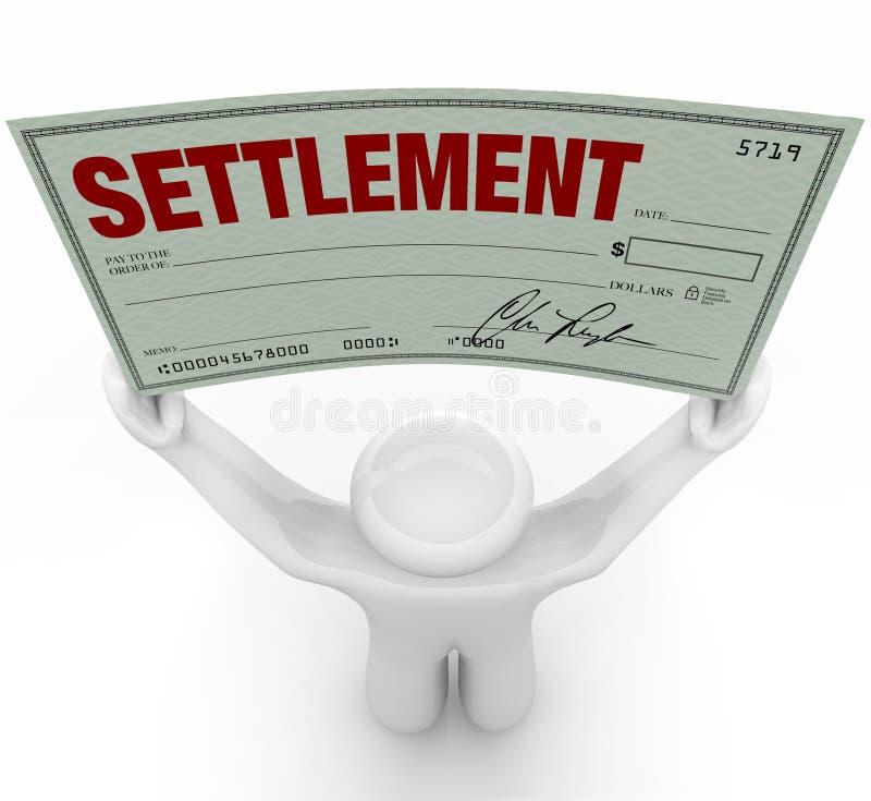 Man Holding Big Settlement Check Agreement Money royalty free illustration