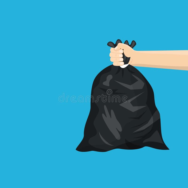 Man holding black plastic trash bag in his hand stock illustration