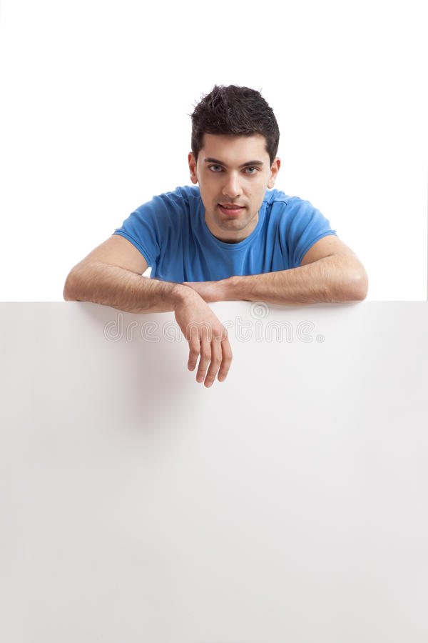 Download Man Holding A Blank Billboard Stock Image - Image: 19862361