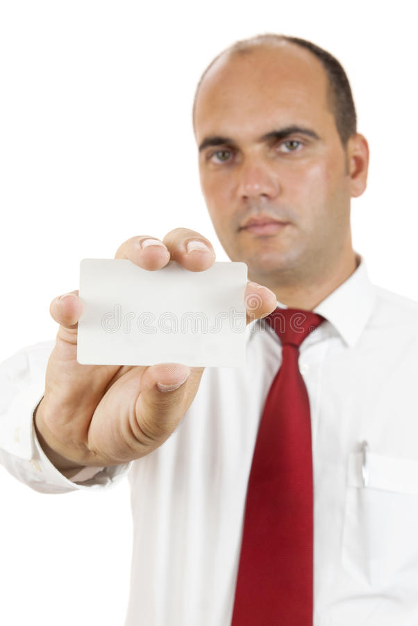 Man holding a blank card stock photography