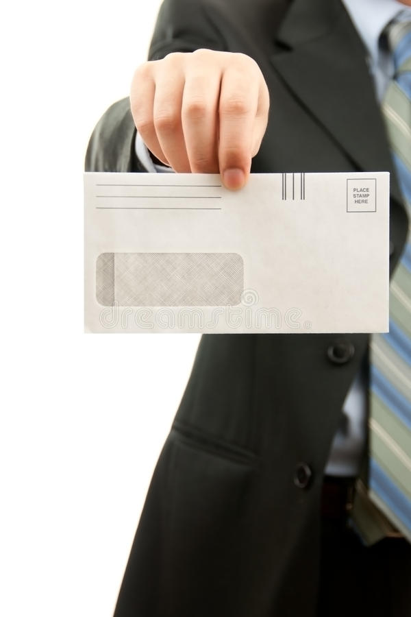 Man holding Blank envelop royalty free stock photography