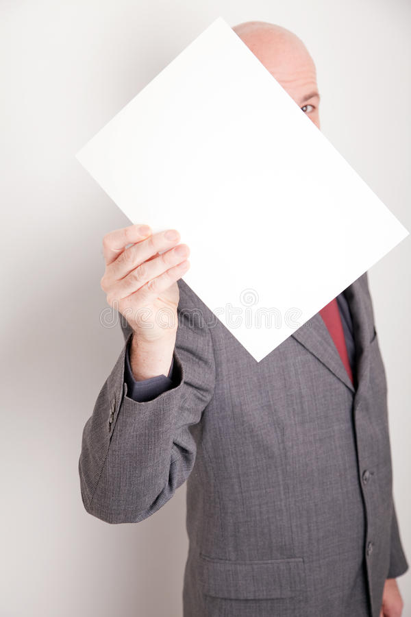 Man holding blank paper royalty free stock images
