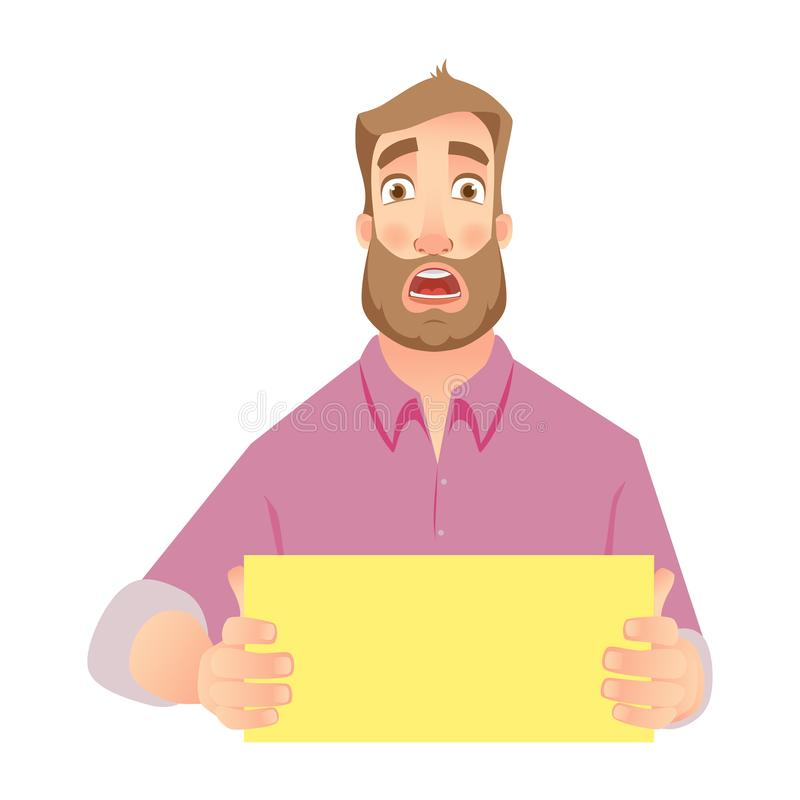 Man holding blank paper royalty free illustration
