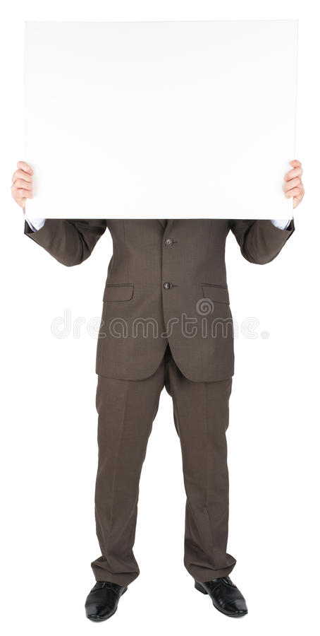 Man holding blank poster. Isolated on white background stock photography