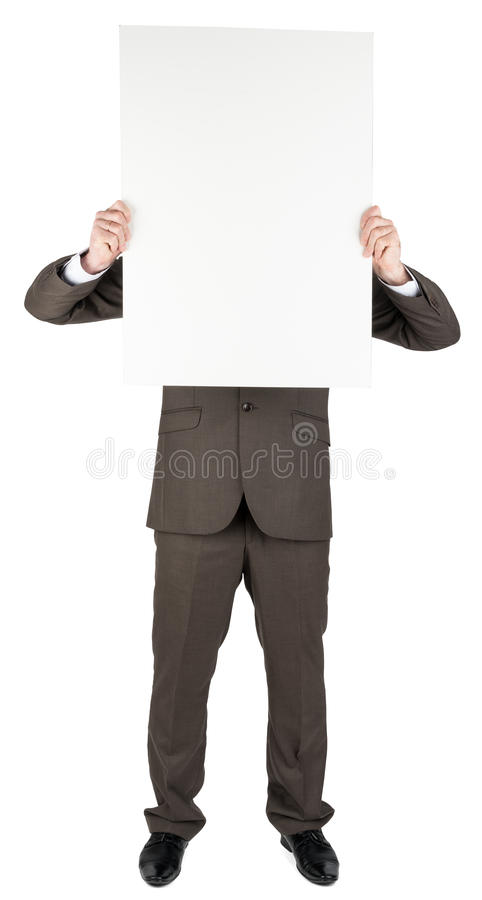 Man holding blank poster. Isolated on white background royalty free stock photos